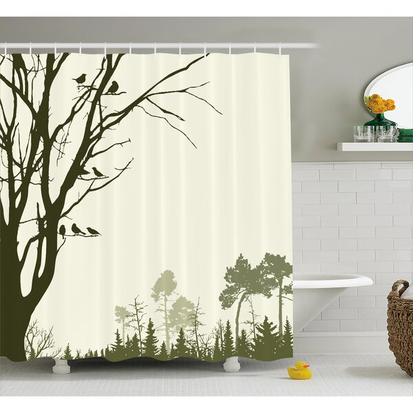 Buragate Nature Theme The Panorama of a Forest Pattern Birds on Tree Branches Shower Curtain by Loon Peak