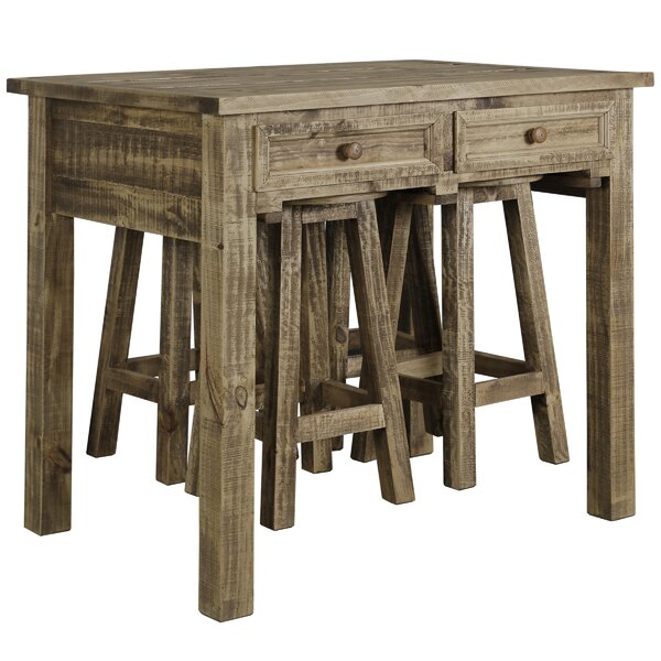 Marcella 5 Piece Solid Wood Dining Set by Millwood Pines