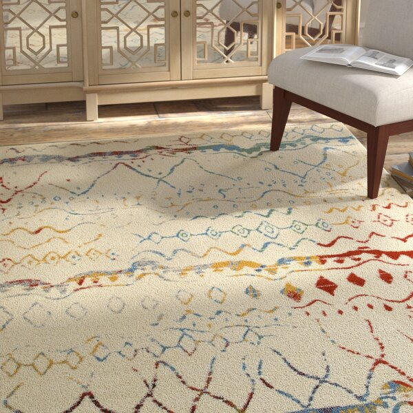 Accomac Cream/Blue Area Rug by Bungalow Rose
