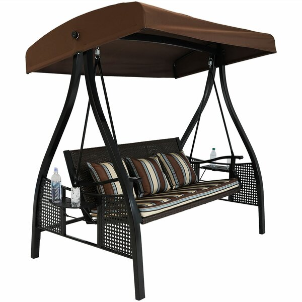 Sydnee Deluxe Wicker Garden Porch Swing with Stand by Freeport Park