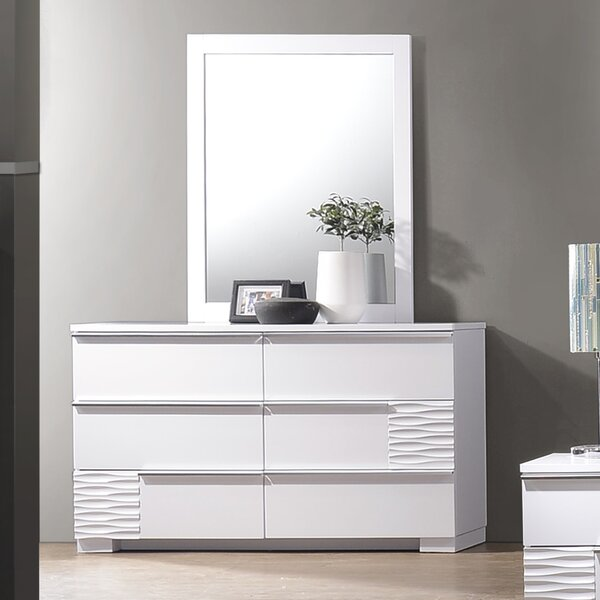 Gaines 6 Drawer Double Dresser with Mirror by Latitude Run