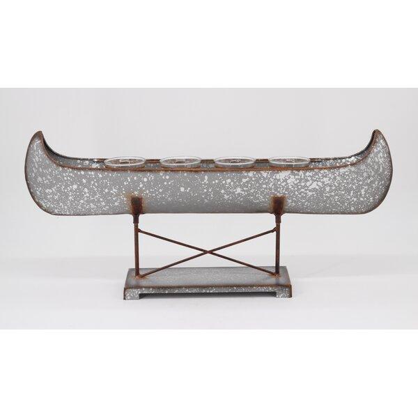 Galvanized Canoe Metal Candelabra by Millwood Pines