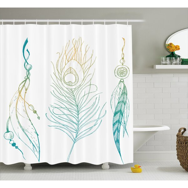 Feather and Peacock Tail Decor Shower Curtain by East Urban Home