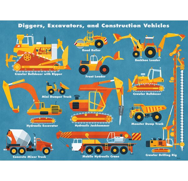 Diggers, Excavators and Construction Vehicles by Daviz Canvas Art by Oopsy Daisy