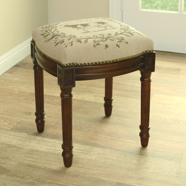 Cow Linen Upholstered Vanity Stool with Nailhead by 123 Creations