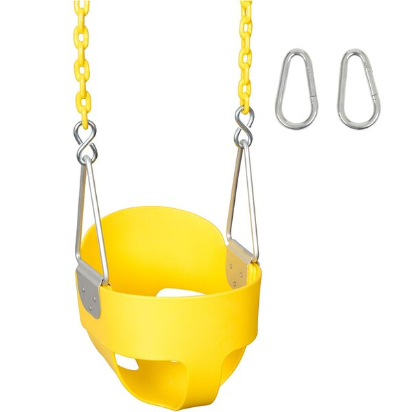 Highback Full Bucket Swing Seat with Coated Chains and Hooks by Swing Set Stuff