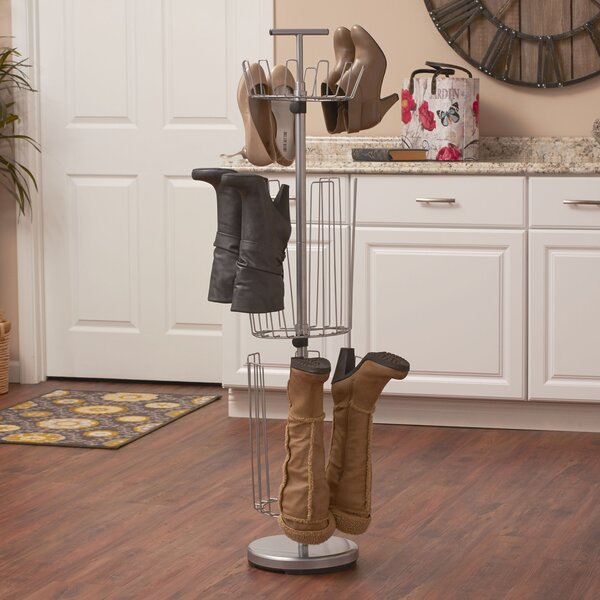 3 Tier 12 Pair Revolving Boot and Shoe Rack