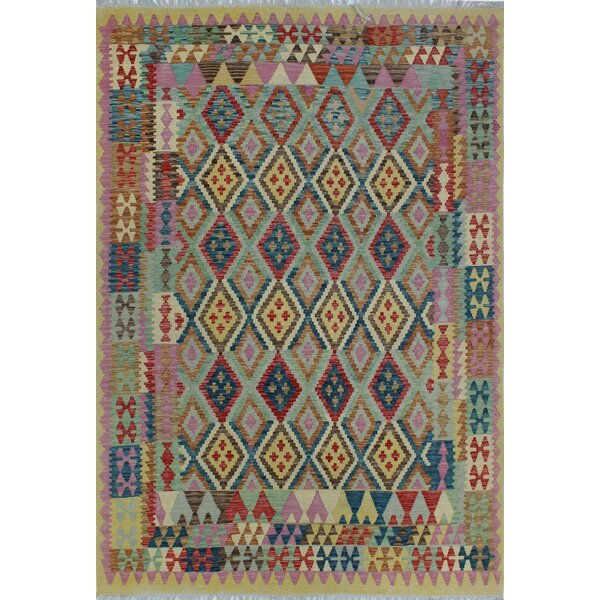Corda Hand-Knotted Wool Purple/Blue Area Rug by Bungalow Rose