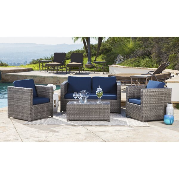 Leithgow 4 Piece Rattan Sofa Set with Cushions by Latitude Run
