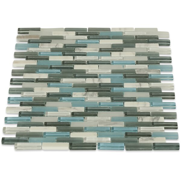Cleveland 0.5 x 1.5 Glass/Marble Mosaic Tile in Frosted Blue/Gray by Splashback Tile