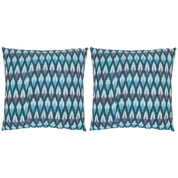Taylor Ikat Diamond Cotton Throw Pillow (Set of 2) by Safavieh