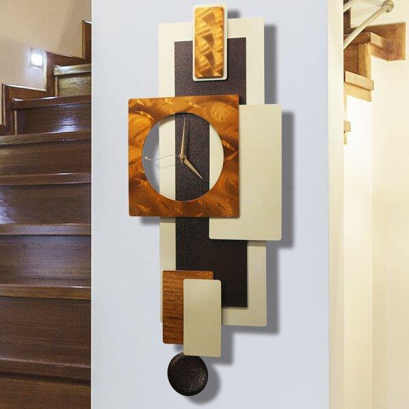Tectonic Metal Pendulum Wall Clock by Latitude Run