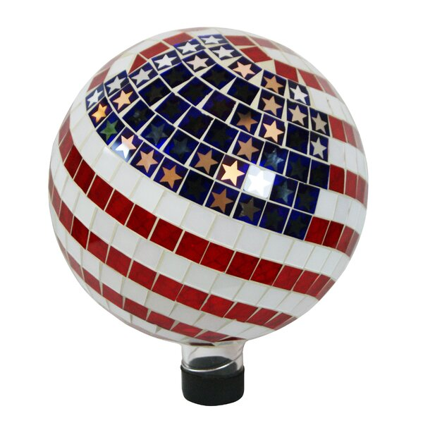 Mosaic American Flag Gazing Globe by Alpine
