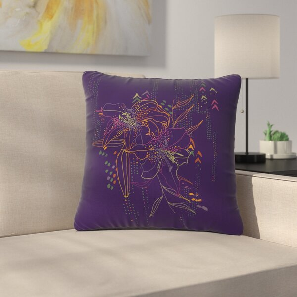 Karina Edde Hibiscus Abstract Outdoor Throw Pillow by East Urban Home