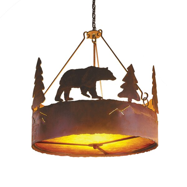 Bear 3 - Light Shaded Drum Chandelier By Steel Partners