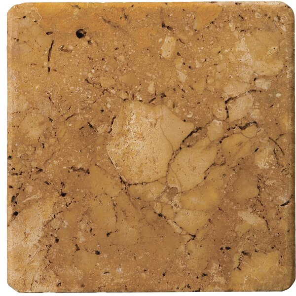 4 x 4 Travertine Field Tile in Oro by Emser Tile