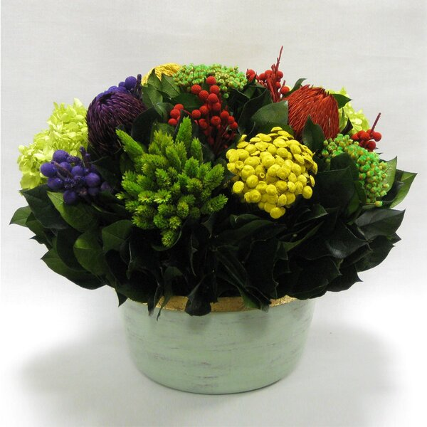 Mixed Floral Centerpiece in Small Wooden Round Container by Rosdorf Park