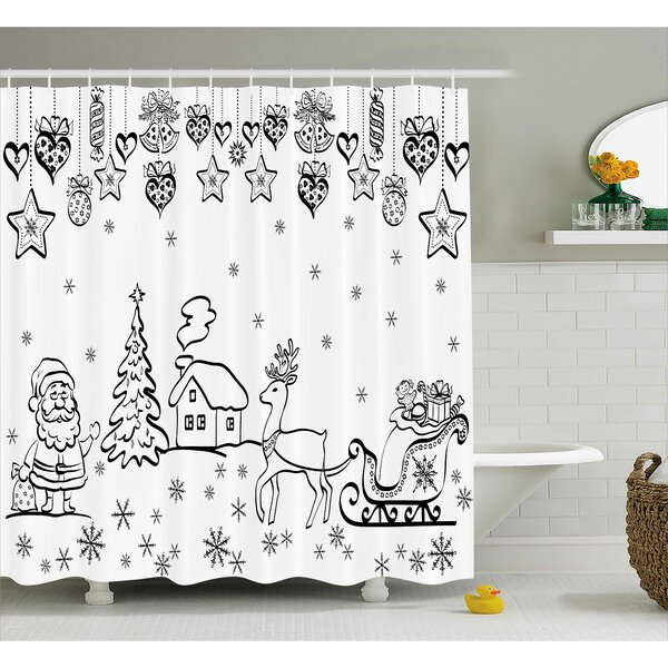 Coleridge Tree Reindeer Santa Shower Curtain by Winston Porter