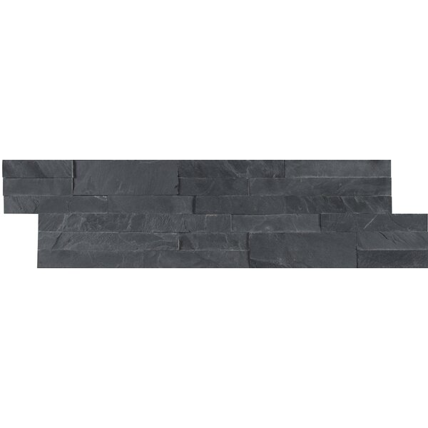 Midnight Ash Veneer Peel and Stick Natural Slate Subway Tile in Black by MSI