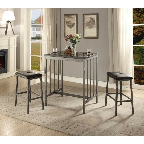 Camper Transitional Faux Marble and Metal Counter Height 3 Piece Pub Table Set by Williston Forge