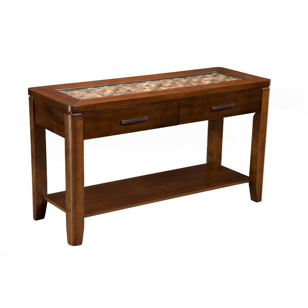 Strauch Glass Insert Top Console Table with Drawers by Bay Isle Home