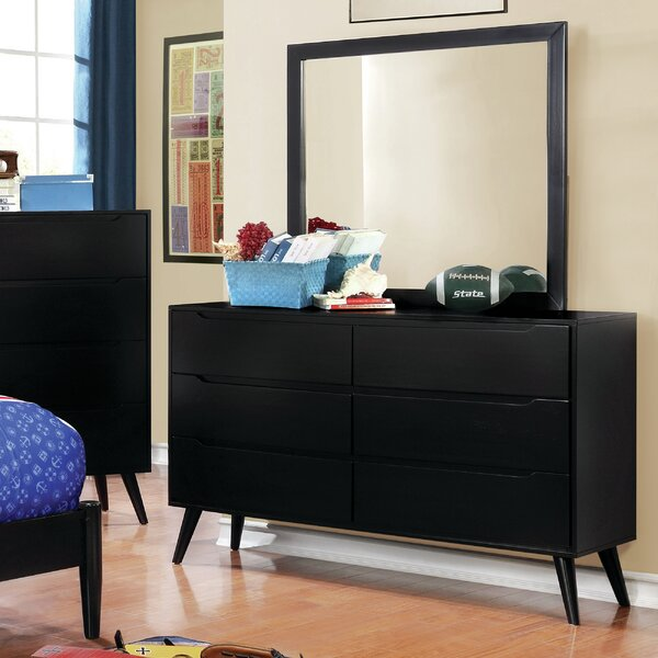 Staton 6 Drawer Double Dresser with Mirror by Modern Rustic Interiors