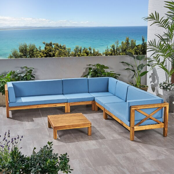 Sexton 5 Sectional Seating Group with Cushions by Rosecliff Heights