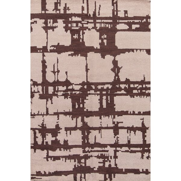 Bee Moroccan Traditional Geometric Oriental Hand-Knotted Wool Beige/Brown Area Rug by Williston Forge