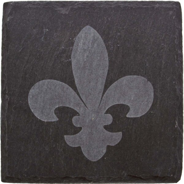 Fleur de Lis Etched Slate Coaster (Set of 4) by Thirstystone