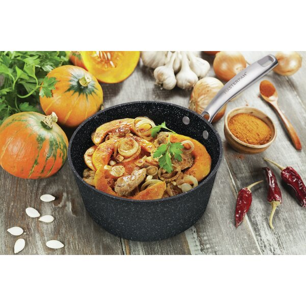 MasterPan Granite Ultra Non-Stick Cast Aluminum Sauce Pan with Glass Lid by Master Pan