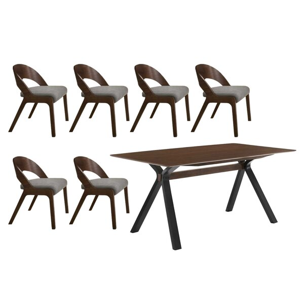 Gravois Runyon 7 Piece Solid Wood Dining Set by George Oliver