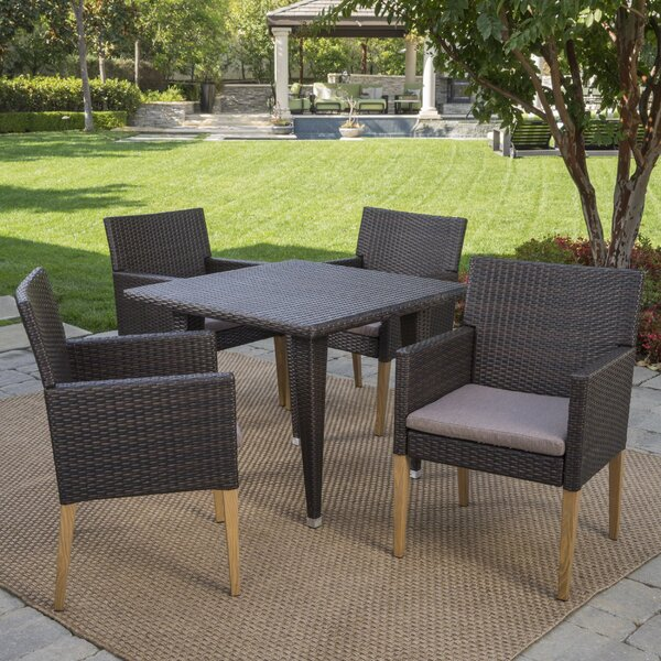 Jaliyah Outdoor 5 Piece Dining Set with Cushions by Corrigan Studio