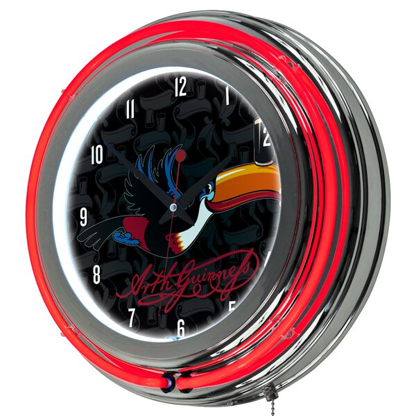 Guinness Toucan Neon 14.5 Wall Clock by Trademark Global