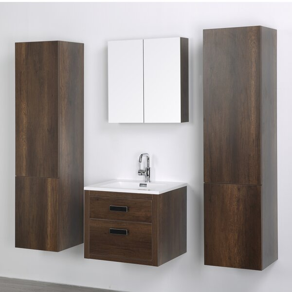 24 Wall-Mounted Single Bathroom Vanity Set with Mirror by Streamline Bath24 Wall-Mounted Single Bathroom Vanity Set with Mirror by Streamline Bath