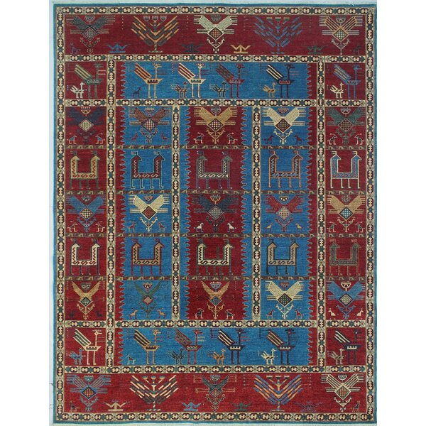 Woodmoor Chobi Hand Knotted Wool Rectangle Blue Area Rug by Loon Peak