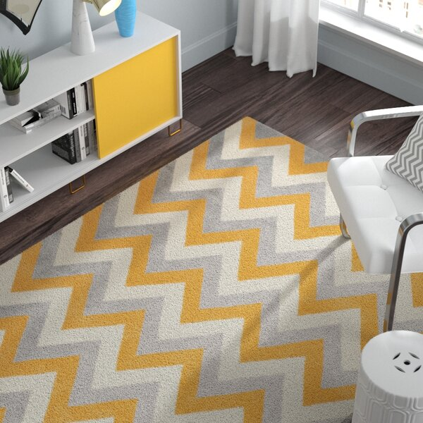 Charlenne  Hand Woven Wool Grey/Gold Area Rug by Zipcode Design