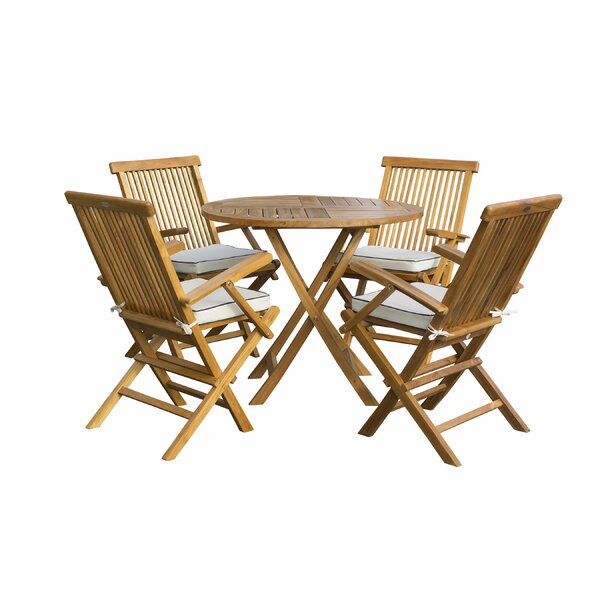 Jett 5 Piece Teak Sunbrella Dining Set with Cushions by Rosecliff Heights