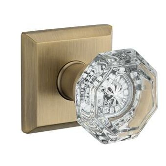 Crystal Double Dummy Door Knob with Traditional Sq