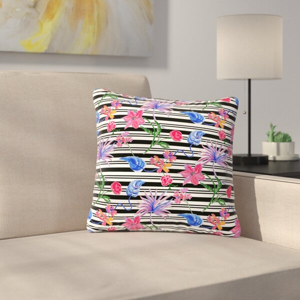 DLKG Design Flower Party Outdoor Throw Pillow by East Urban Home