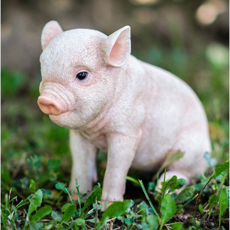 PIG LIFE LIKE BABY PIGLET DARK BROWN HOME GARDEN DECOR FIGURINE FREE SHIP