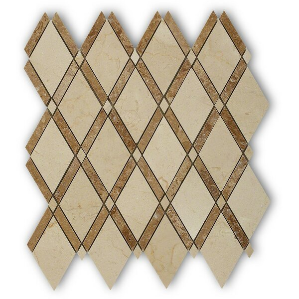 Grand Random Sized Marble Mosaic Tile in Crema Marfil/Noce by Splashback Tile