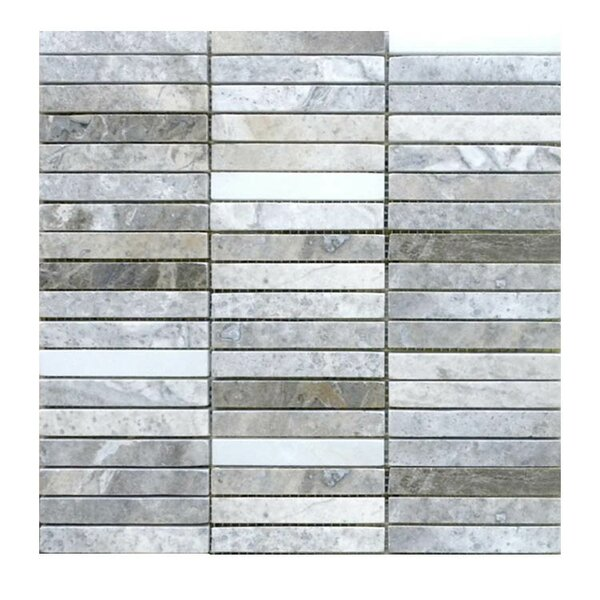 Polished 0.63 x 4 Natural Stone Mosaic Tile in Silver by QDI Surfaces