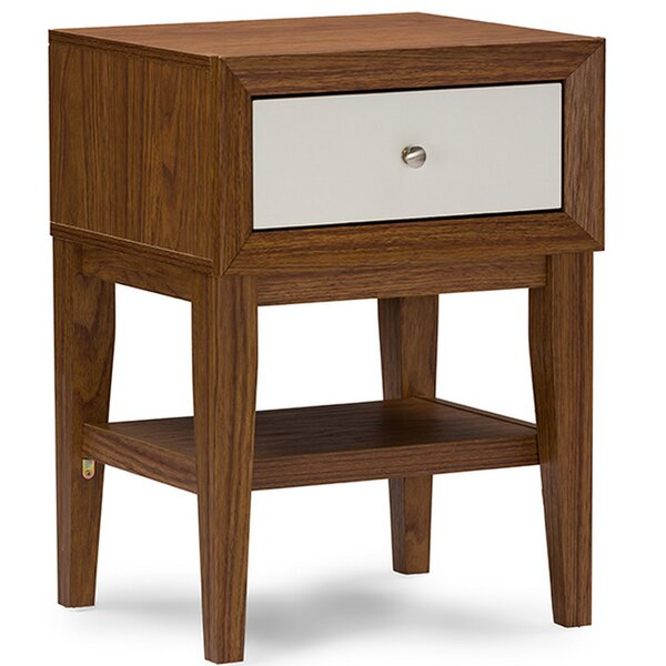 Perrinton Modern 1 Drawer Nightstand by George Oliver