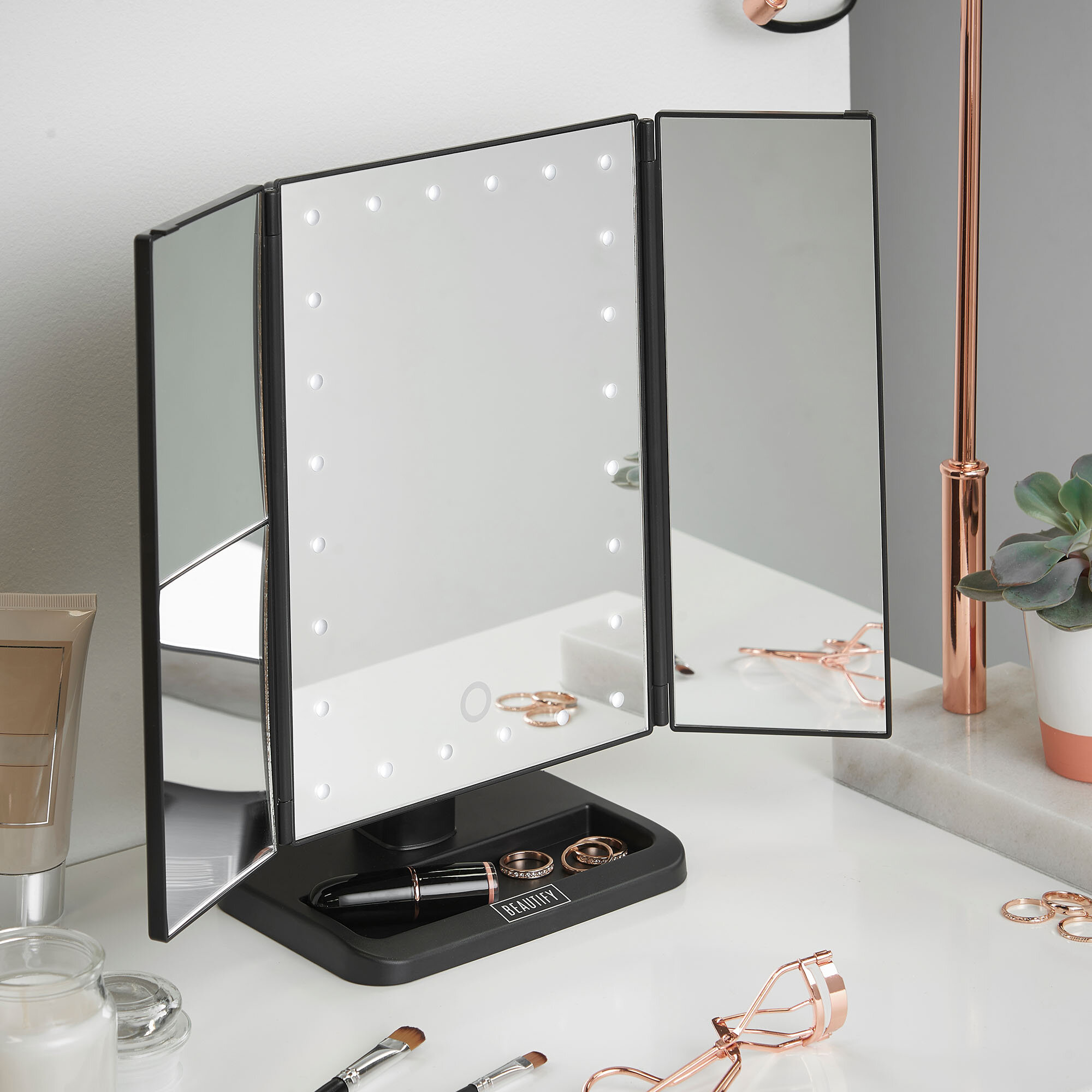 Large Tri Fold Led Mirror With Light Illuminated Make Up Bathroom Bedroom