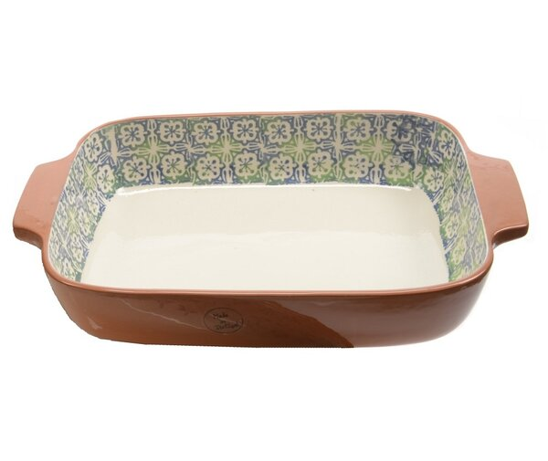 French Countryside Flower and Cross Rectangular Terracotta Oven Dish by Northlight Seasonal