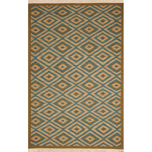 Hand-Woven Blue/Tan Area Rug by The Conestoga Trading Co.