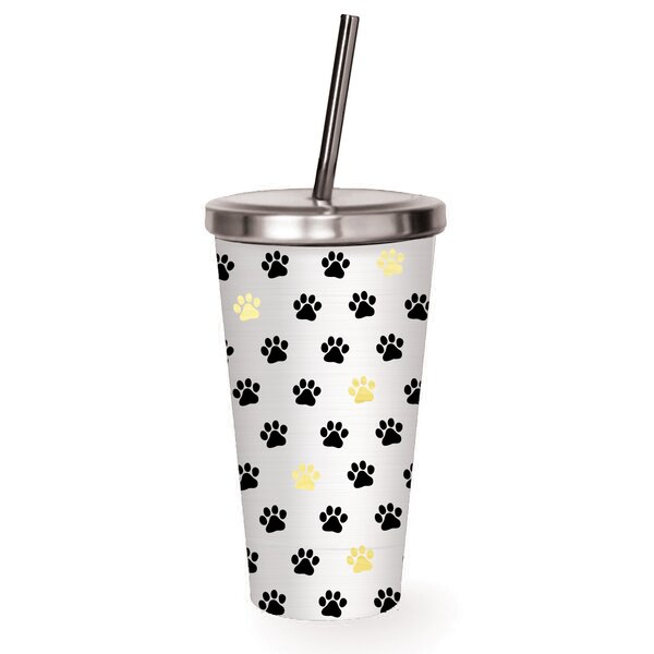 Beecher Paw Prints 16 oz. Stainless Steel Tumbler by Ebern Designs
