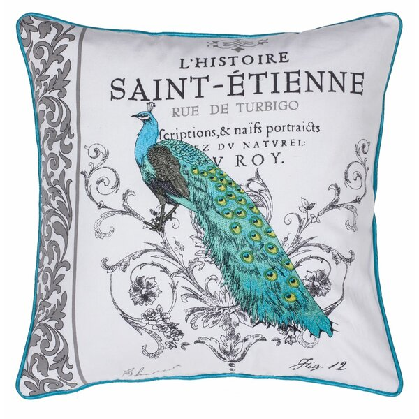 Peacock Embroidered Cotton Throw Pillow by 14 Karat Home Inc.
