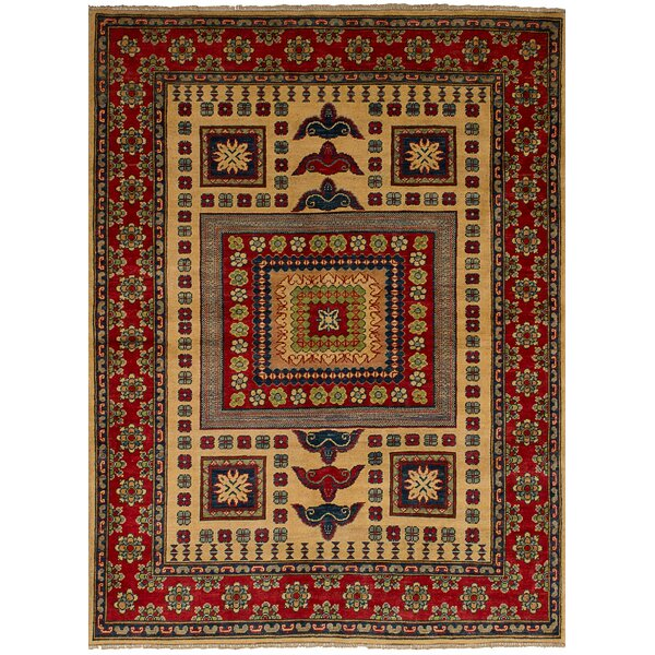 One-of-a-Kind Noriko Hand-Knotted Wool Cream/Red Area Rug by Isabelline