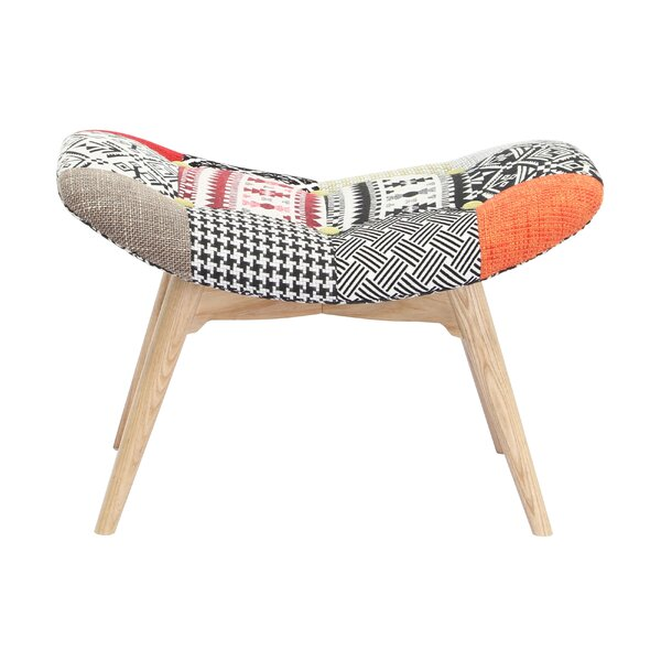 Malini Button Patchwork Upholstered Accent Stool by Bungalow Rose